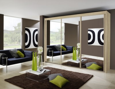 Rauch Imperial 3 Door All Mirror Sliding Wardrobe in Sonoma Oak - W 300cm