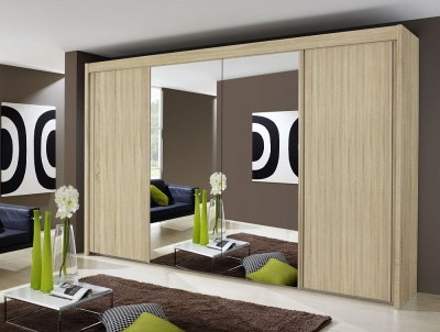 Rauch Imperial 4 Door Mirror Sliding Wardrobe in Sonoma Oak - W 320cm