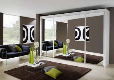 Rauch Imperial 4 Door All Mirror Sliding Wardrobe in White - W 350cm