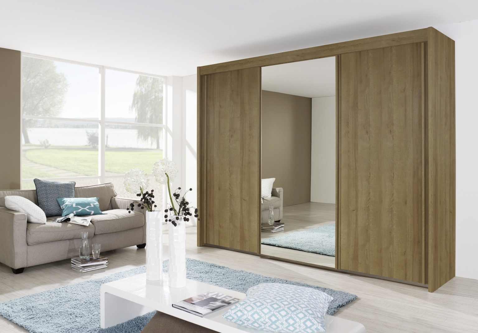 Rauch Imperial Rivera Oak 3 Door Sliding Wardrobe with 1 Mirror W 225cm