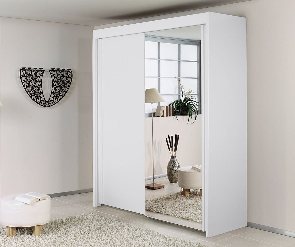 Rauch Imperial 2 Door Mirror Sliding Wardrobe in White - W 151cm