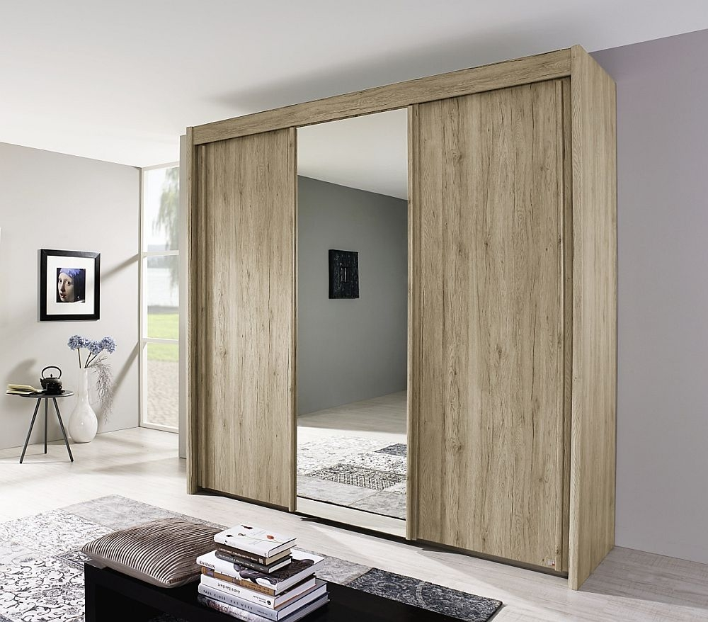 Rauch Imperial 3 Door Mirror Sliding Wardrobe in Sanremo Oak Light - W 225cm