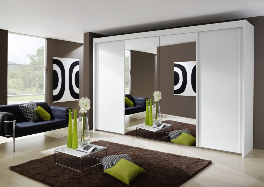 Rauch Imperial 4 Door 2 Mirror Sliding Wardrobe In Alpine White - W 320cm