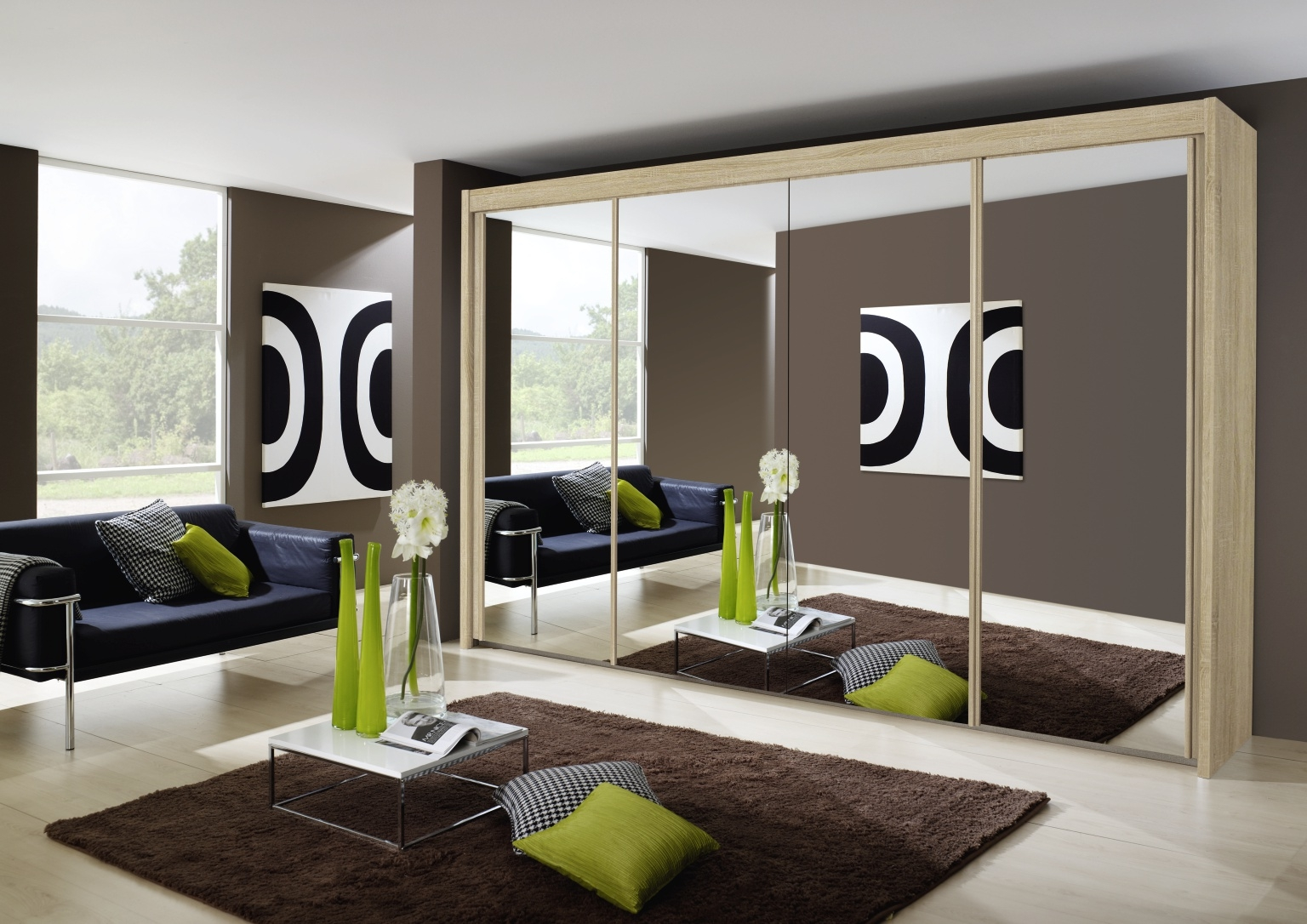 Rauch Imperial 4 Door All Mirror Sliding Wardrobe in Sonoma Oak - W 350cm