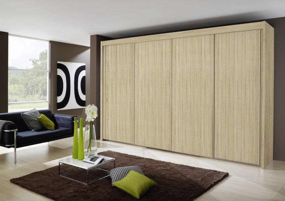 Rauch Imperial 4 Door Sliding Wardrobe In Sonoma Oak - W 320cm