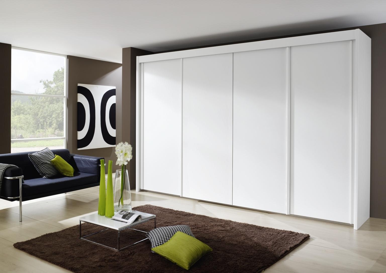 Rauch Imperial 4 Door Sliding Wardrobe in White - W 350cm