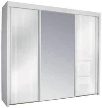 Rauch Imperial Alpine White 4 Door Sliding Wardrobe with High Polish White Front with 2 Mirrors W 32