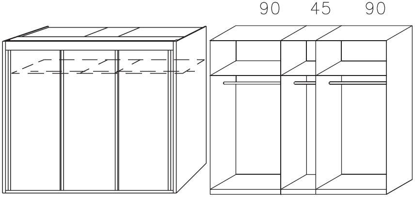 Rauch Imperial Riviera Oak 3 Door Sliding Wardrobe W 225cm