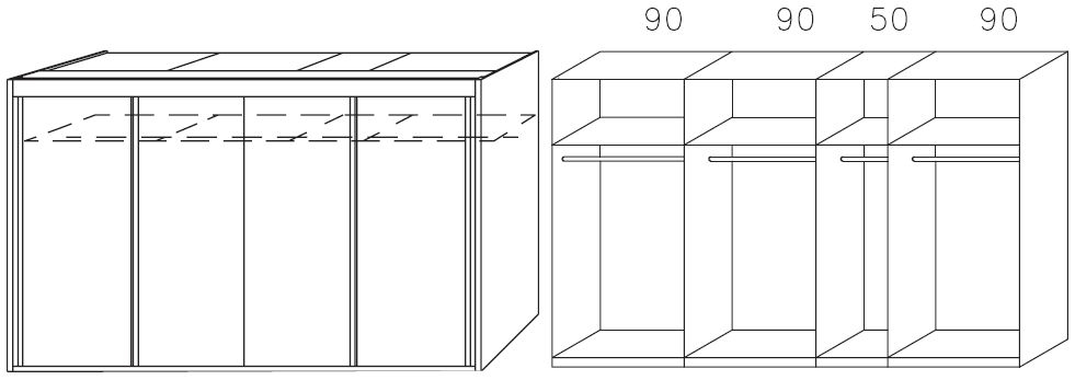 Rauch Imperial Riviera Oak 4 Door Sliding Wardrobe W 320cm