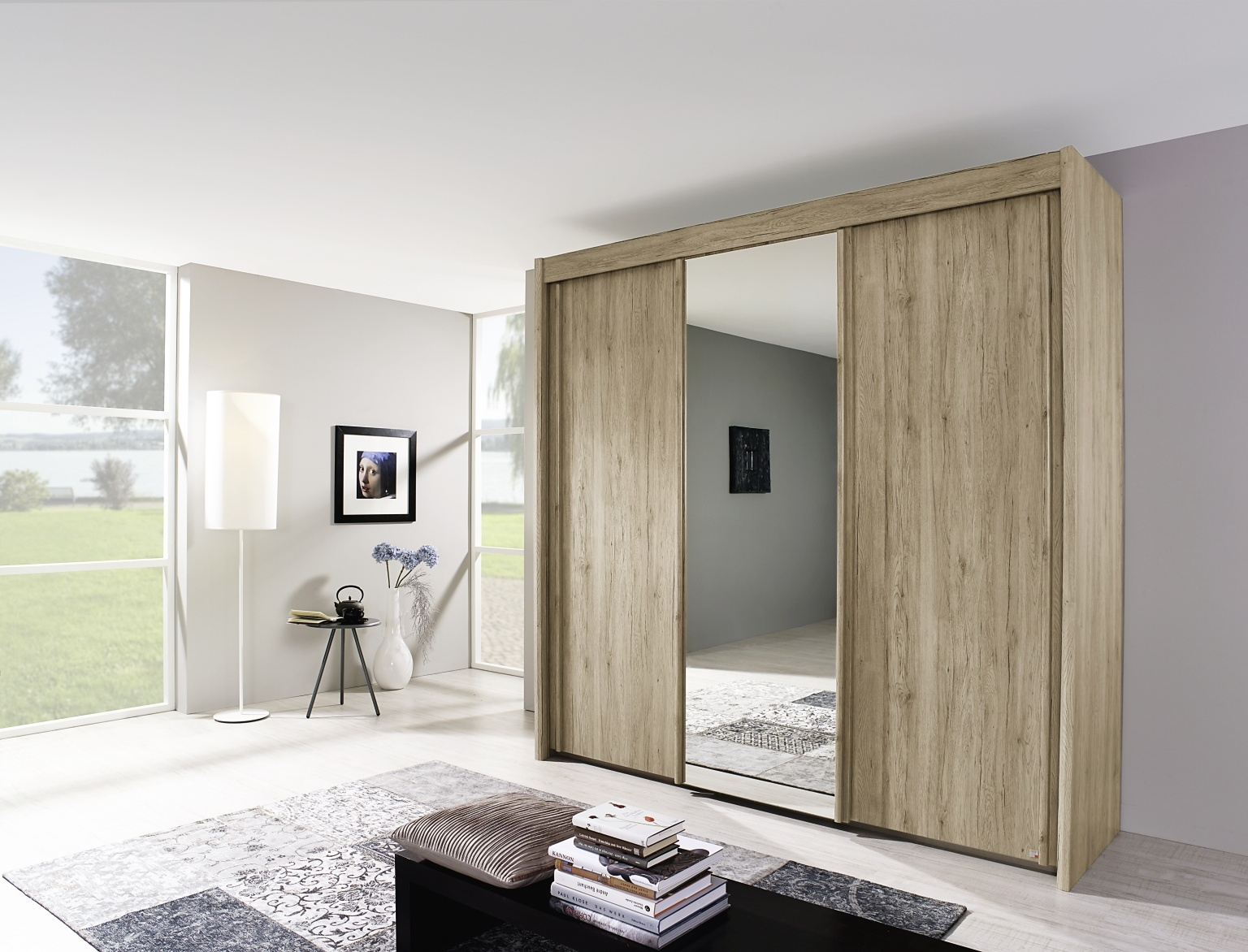 Rauch Imperial Sanremo Light Oak 2 Door Sliding Wardrobe with 1 Mirror W 151cm
