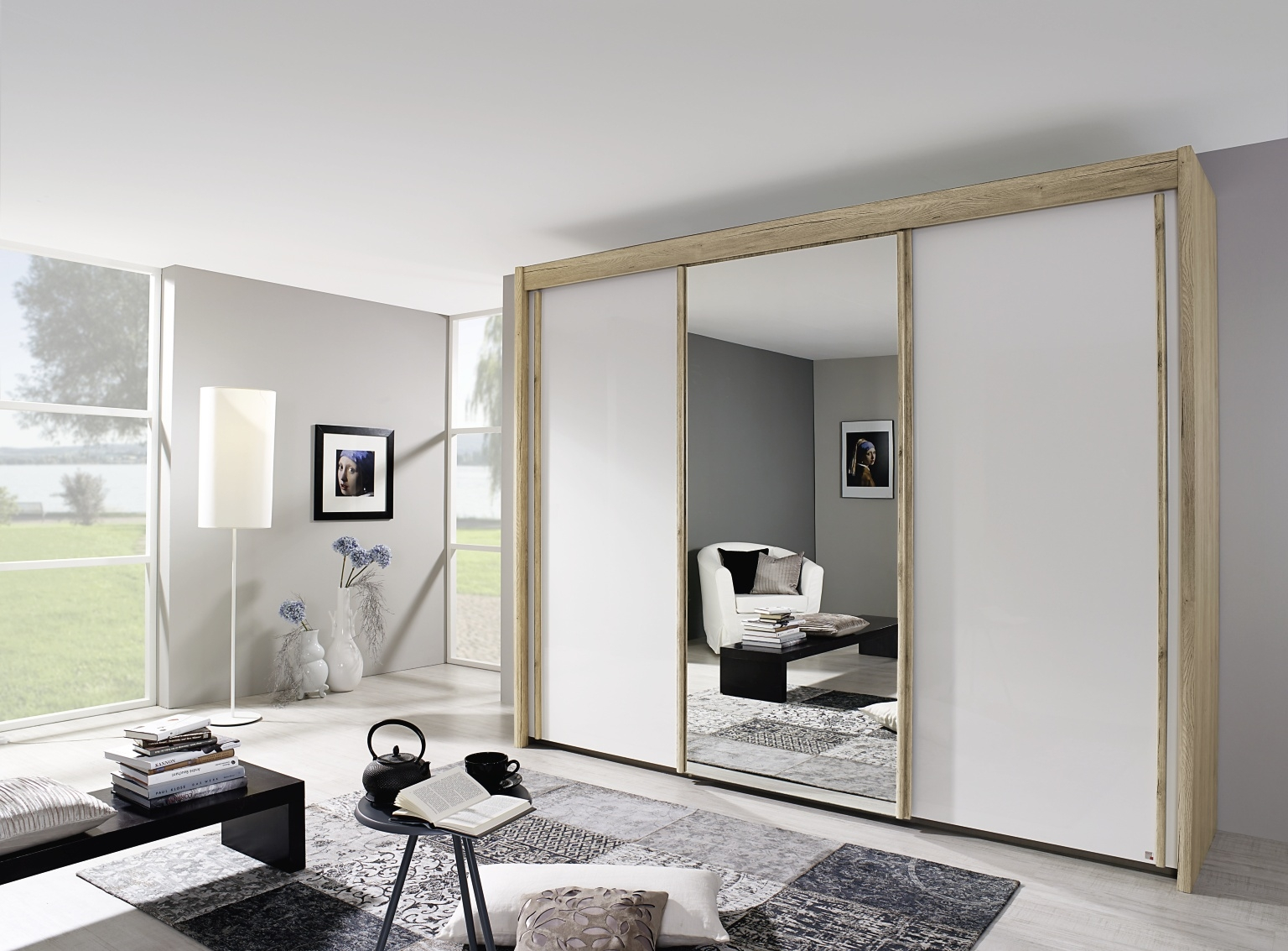 Rauch Imperial Sanremo Light Oak 3 Door Sliding Wardrobe with High Polish White Front with 1 Mirror W 225cm