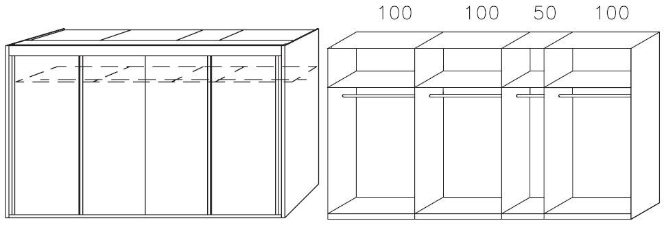 rauch imperial sanremo light oak 4 door sliding wardrobe w 350cm. Black Bedroom Furniture Sets. Home Design Ideas