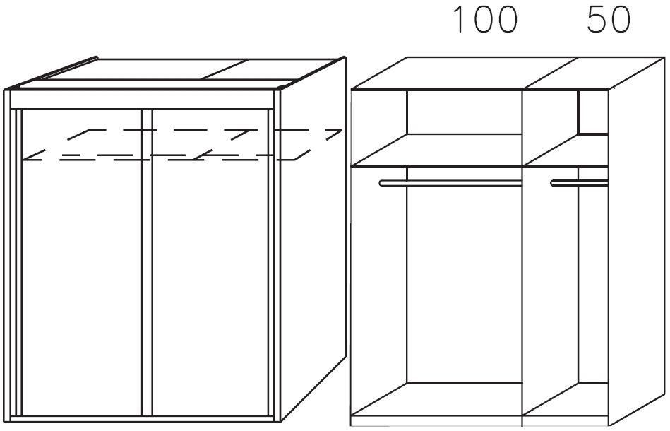 Rauch Imperial Sonoma Oak 2 Door Sliding Wardrobe W 151cm