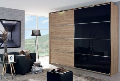 Rauch Juwel E Sliding Wardrobe with Wood Decor and Color Glass Front