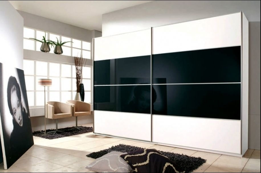 Rauch Juwel Alpine White with Black Glass Overlay 2 Door Sliding Wardrobe with Aluminium Handle Strip - W 226cm