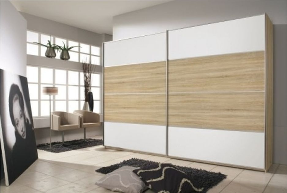 Rauch Juwel Sonoma Oak with Crystal White 2 Door Sliding Wardrobe with Aluminium Handle Strip - W 226cm
