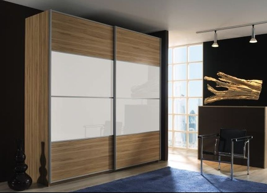 Rauch Juwel Sonoma Oak with Crystal White Glass Overlay 3 Door Sliding Wardrobe with Chrome Handle Strip - W 404cm