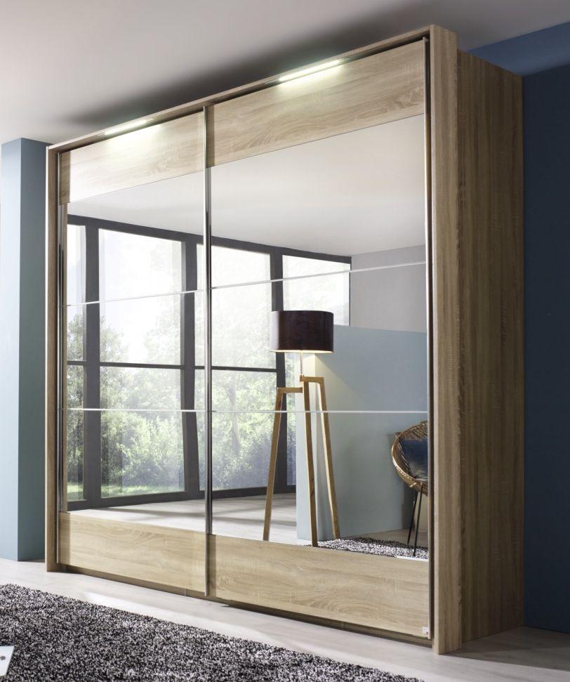 Rauch Kajus 2 Mirror Door Sliding Wardrobe in Sonama Oak with Lighting Passepartout - W 234cm