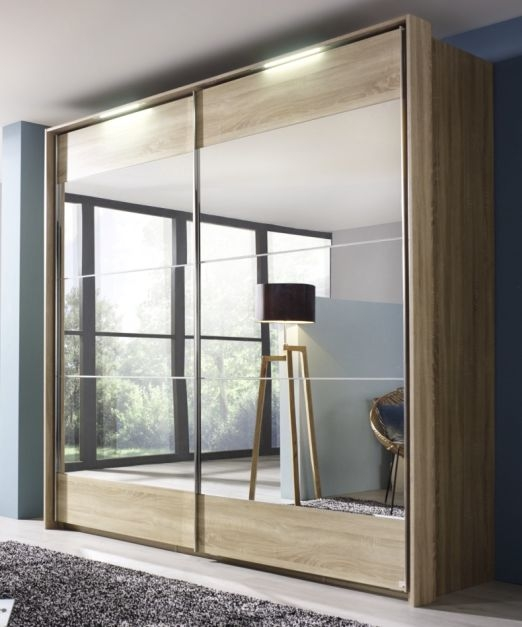 Rauch Kajus 2 Mirror Door Sliding Wardrobe in Oak and Passepartout - W 189cm