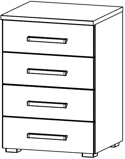 Rauch Kent Plus 4 Drawer Bedside Cabinet in High Gloss White Front