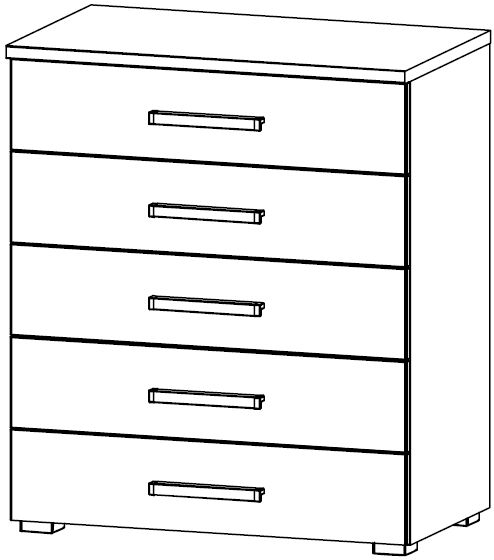 Rauch Kent Plus 5 Drawer Chest in High Gloss White Front - W 72cm