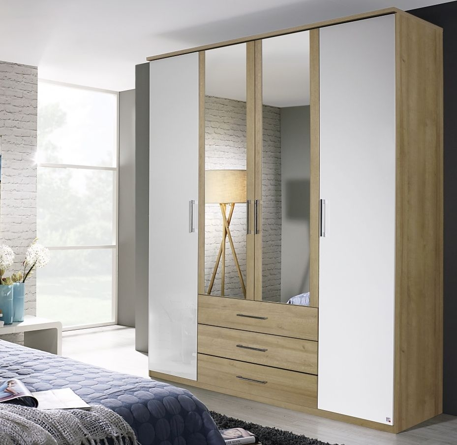 Rauch Kent Plus 4 Door 3 Drawer 2 Mirror Combi Wardrobe in Riviera Oak and High Gloss White with Cornice - W 181cm