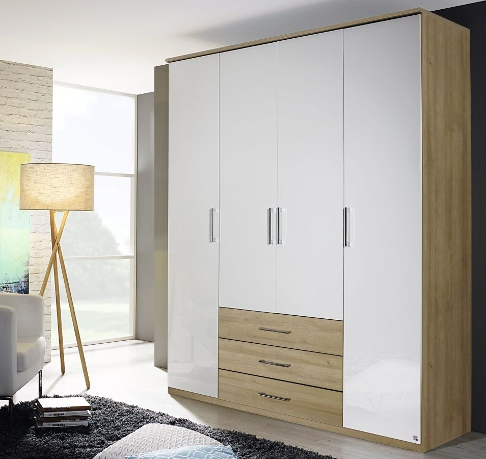Rauch Kent Plus 4 Door Wardrobe in Riviera Oak and High Gloss White with Cornice - W 181cm