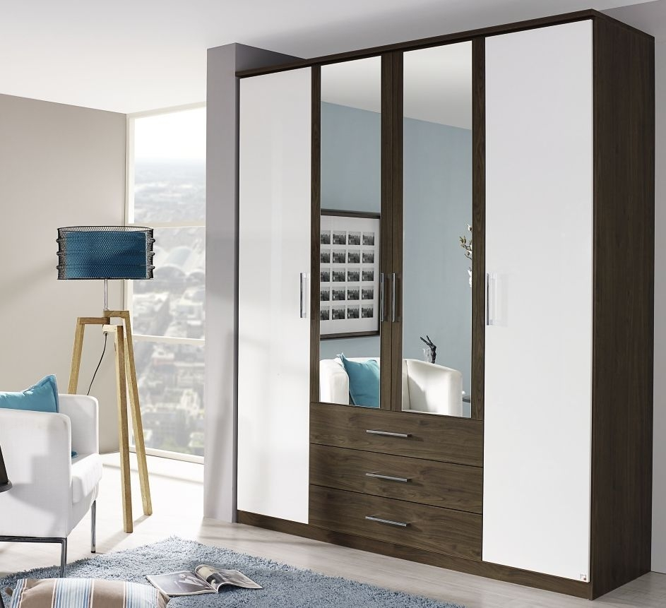 Rauch Kent Plus 4 Door Wardrobe in Royal Walnut and High Gloss White with Cornice - W 181cm