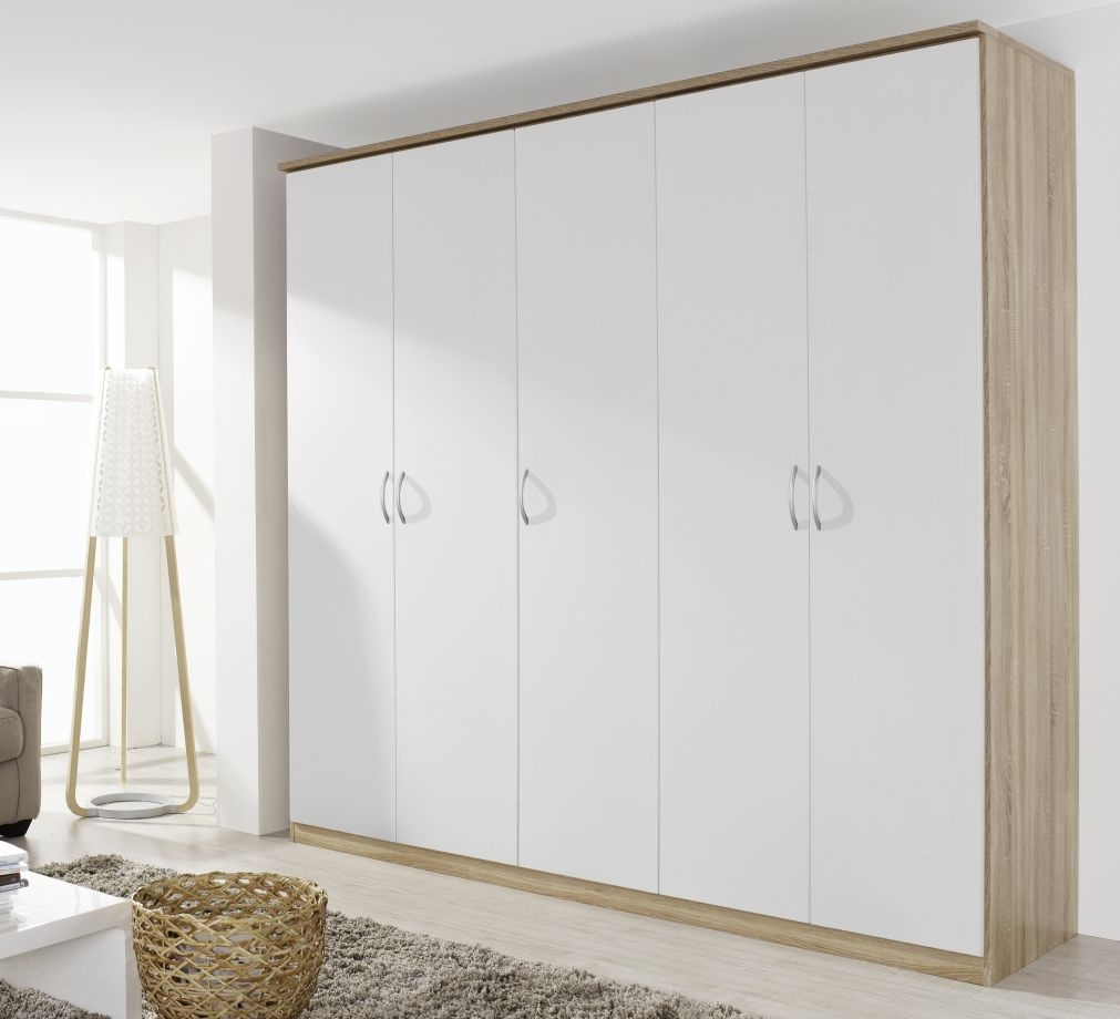 Rauch Kent Plus 5 Door 3 Drawer 1 Mirror Combi Wardrobe in Sonoma Oak and High Gloss White with Cornice - W 225cm