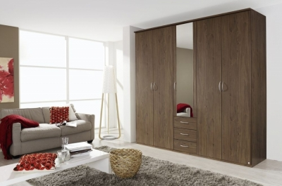 Rauch Kent 5 Door Combi Wardrobe in Royal Walnut - W 226cm