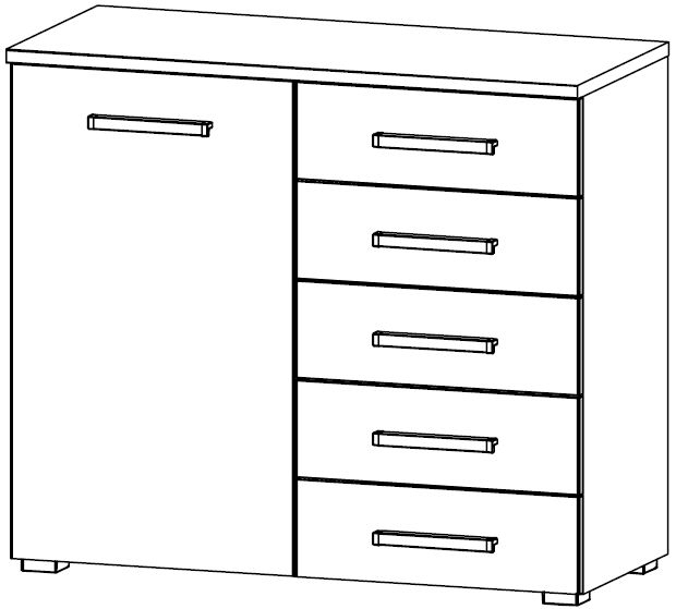 Rauch Kent 1 Door 5 Drawer Combi Chest in High Gloss White Front