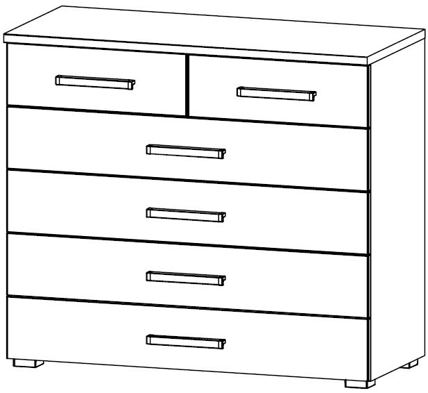 Rauch Kent 4+2 Drawer Chest in High Gloss White Front