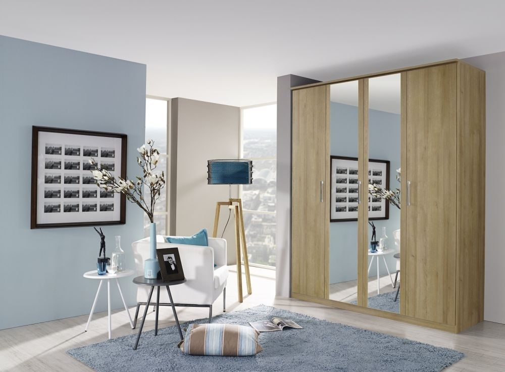 Rauch Kent 4 Door Mirror Wardrobe in Oak - W 181cm