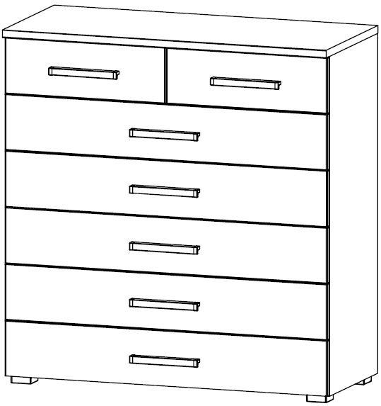 Rauch Kent 5+2 Drawer Chest in High Gloss White Front