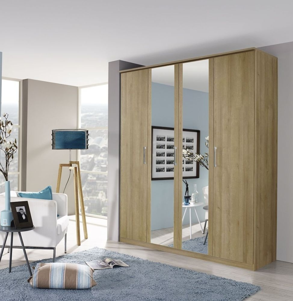 Rauch Kent 3 Door 1 Mirror Wardrobe in Riviera Oak - W 136cm