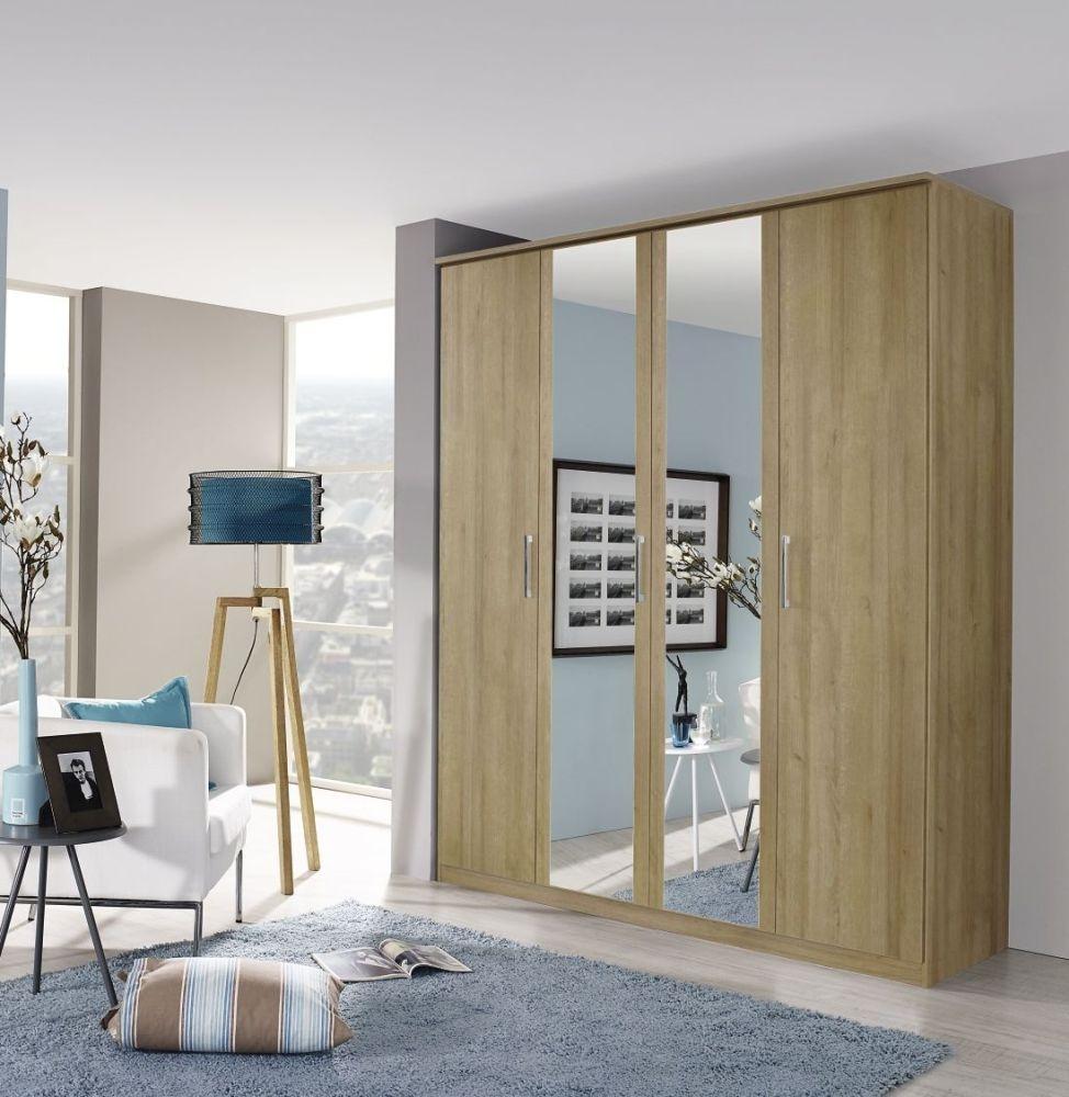 Rauch Kent Riviera Oak 4 Door with 2 Mirror Wardrobe - W 181cm