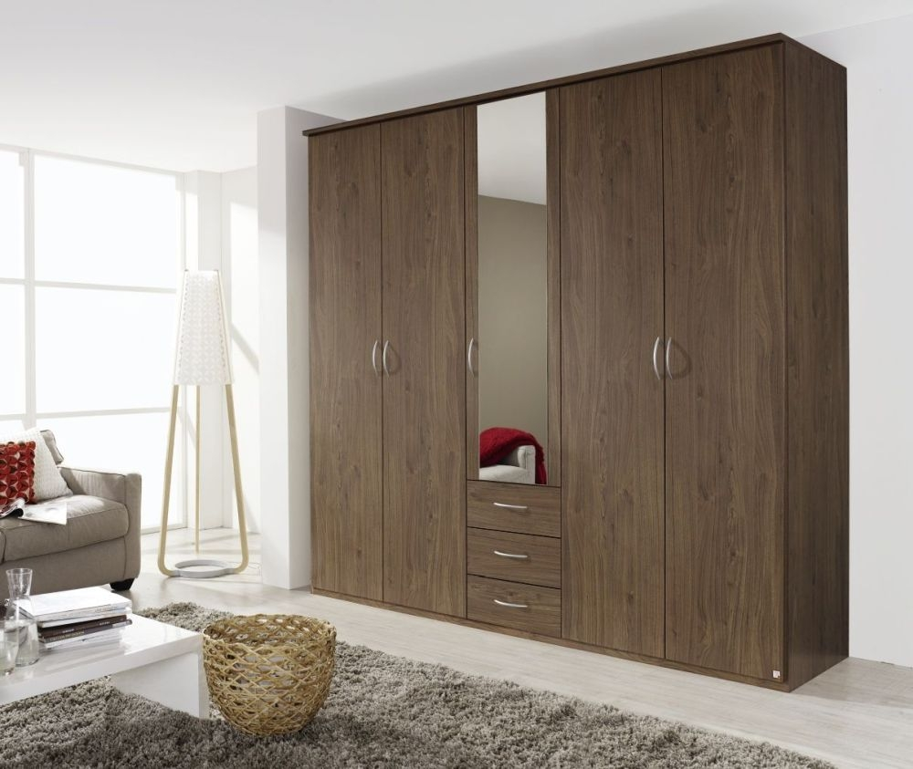 Rauch Kent Royal Walnut 5 Door with 1 Mirror Wardrobe - W 225cm
