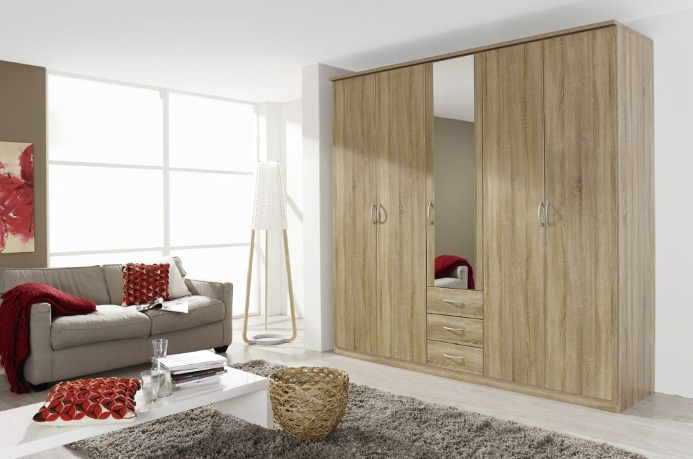 Rauch Kent Sonoma Oak 5 Door with 1 Mirror Wardrobe - W 225cm