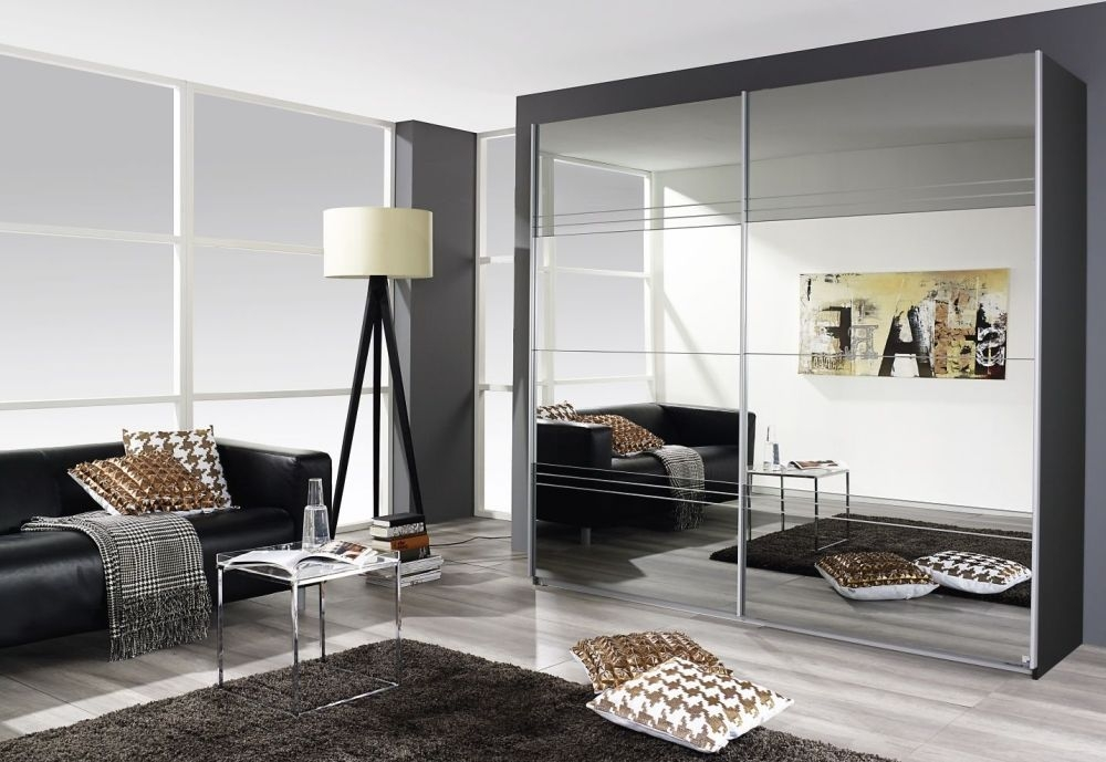 Rauch Koblenz Metallic Grey 2 Door Sliding Wardrobe with Mirror and Grey Mirror with Groove Cutting Application - W 226cm
