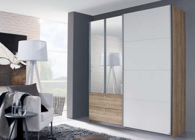 Rauch Kombino 3 Door Combi Wardrobe in Oak and White - W 181cm