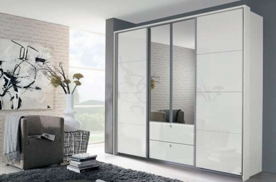 Rauch Kombino 4 Door Combi Wardrobe in High Gloss White - W 226cm
