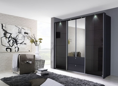 Rauch Kombino 4 Door Combi Wardrobe in Metallic Grey and Basalt Glass - W 271cm
