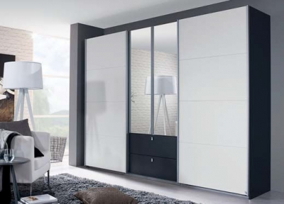 Rauch Kombino 4 Door Combi Wardrobe in Oak and High Gloss White - W 271cm