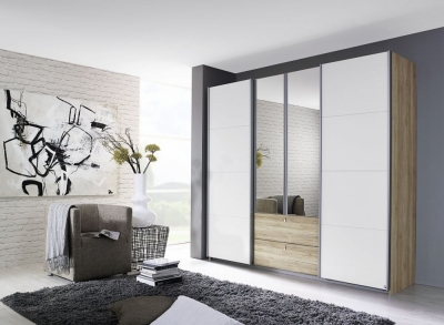 Rauch Kombino 4 Door Combi Wardrobe in Oak and White - W 226cm