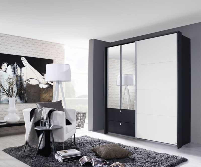 Rauch Kombino 3 Door Combi Wardrobe in Metallic Grey and White - W 181cm