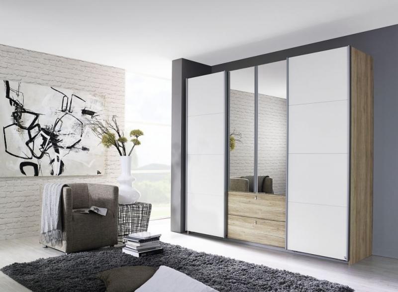 Rauch Kombino 4 Door Combi Wardrobe in Oak and White - W 226cm