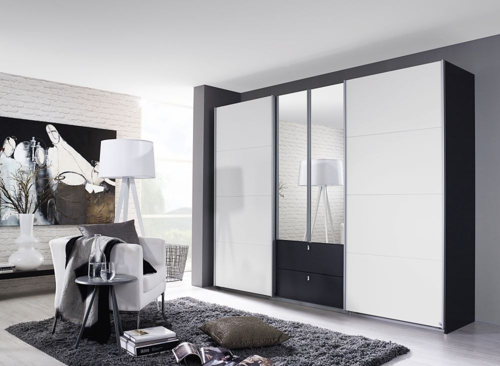 Rauch Kombino Metallic Grey with Alpine White 2 Hinged Door 1 Sliding Door 2 Drawer Combi Wardrobe - W 181cm