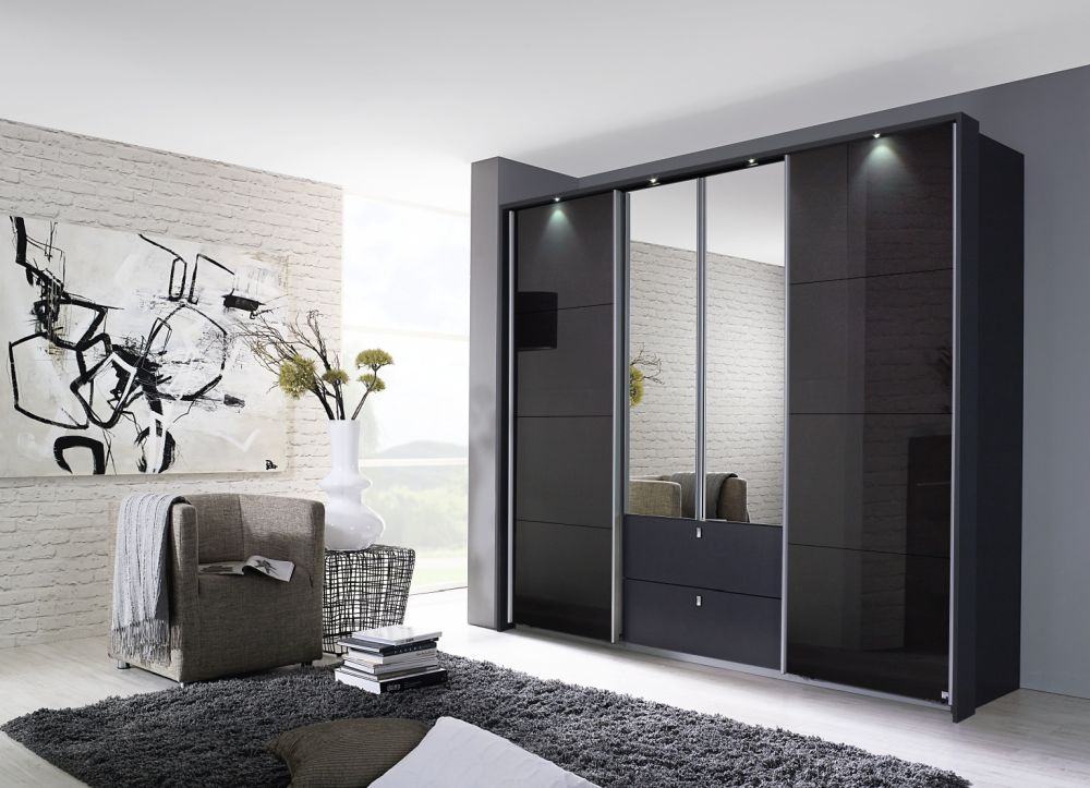 Rauch Kombino Metallic Grey with Black Glass 2 Hinged Door 1 Sliding Door 2 Drawer Combi Wardrobe - W 181cm
