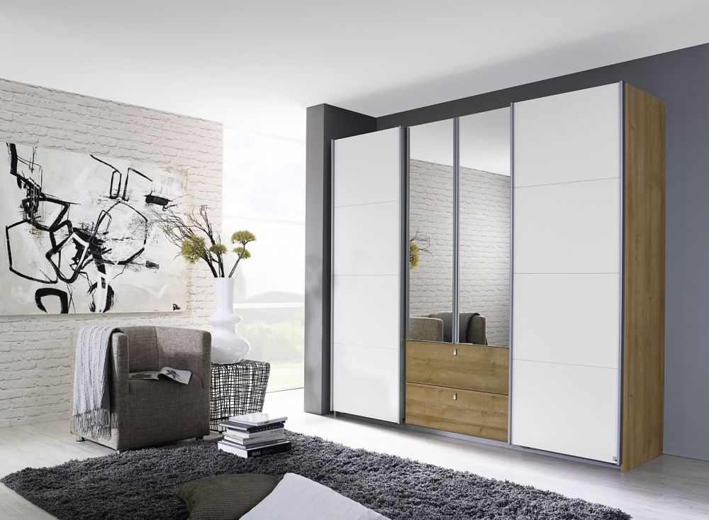 Rauch Kombino Riviera Oak with Alpine White 2 Mirror Hinged Door 1 Sliding Door 2 Drawer Combi Wardrobe - W 181cm