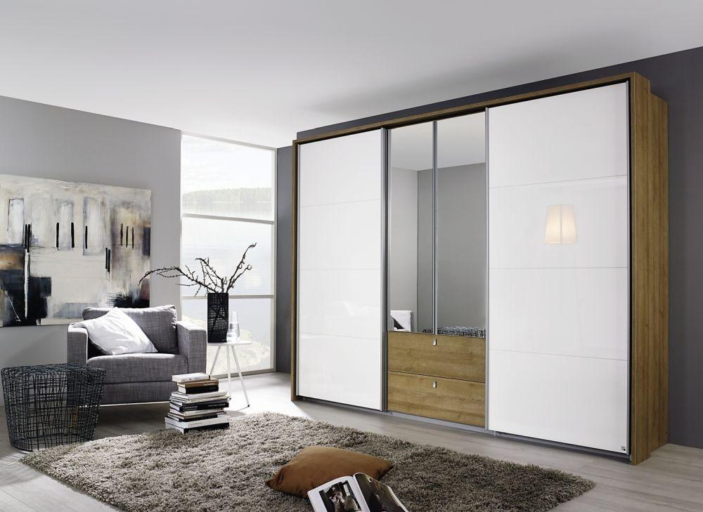 Rauch Kombino 2 Mirror Hinged Door 2 Sliding Door 2 Drawer High Gloss Combi Wardrobe in Riviera Oak and White - W 226cm